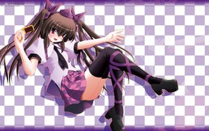 Rating: Safe Score: 38 Tags: brown_hair hat himekaidou_hatate long_hair phone purple_eyes side_b skirt thighhighs tie touhou twintails User: schellen