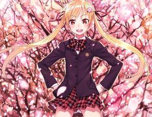 Rating: Safe Score: 96 Tags: blonde_hair cherry_blossoms cropped flowers long_hair matsuryuu original petals pink_eyes school_uniform twintails User: humanpinka