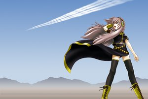 Rating: Safe Score: 14 Tags: boots headphones megurine_luka skirt sky thighhighs vocaloid User: HawthorneKitty