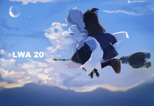Rating: Safe Score: 32 Tags: 2girls akko_kagari brown_hair clouds diana_cavendish henpei_saboten little_witch_academia long_hair skirt sky thighhighs watermark witch User: FormX