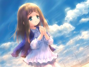 Rating: Safe Score: 33 Tags: aqua_eyes brown_hair clouds goto_p loli long_hair narcissu necklace sky tagme_(character) User: PAIIS