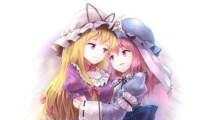 Rating: Safe Score: 25 Tags: 2girls blonde_hair blush bow hat hug long_hair minust pink_eyes pink_hair purple_eyes ribbons saigyouji_yuyuko touhou yakumo_yukari User: RyuZU