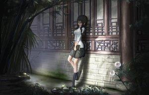 Rating: Safe Score: 269 Tags: black_hair book flowers glasses kikivi original rose school_uniform skirt User: opai