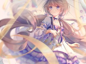 Rating: Safe Score: 49 Tags: brown_hair chinese_clothes choker houchi_shoujo kamui_(kamuikaoru) lolita_fashion long_hair necklace purple_eyes signed twintails umbrella watermark yue_jin User: BattlequeenYume