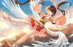 Rating: Safe Score: 57 Tags: animal anthropomorphism bird bisonbison brown_hair clouds dress feathers long_hair sky tagme_(character) twintails water wings wink yellow_eyes zhanjian_shaonu User: BattlequeenYume