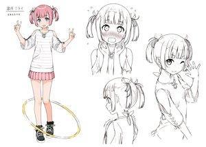 Rating: Safe Score: 53 Tags: blue_eyes blush kantoku original pink_hair satsuki_mirai sketch skirt twintails wink User: Wiresetc
