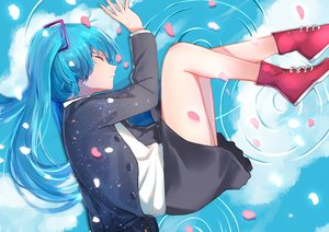 Rating: Safe Score: 49 Tags: aqua_hair clouds hatsune_miku long_hair petals qingli_green reflection skirt sky twintails vocaloid water User: RyuZU