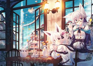 Rating: Safe Score: 92 Tags: 2girls airship animal animal_ears aqua_eyes bird building cake city clouds drink flowers food foxgirl glasses hoodie misaki_yuu_(dstyle) original petals scenic short_hair shorts sky tail thighhighs white_hair yellow_eyes User: RyuZU