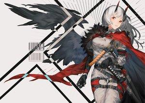 Rating: Safe Score: 43 Tags: cape gloves horns katana long_hair military nonokuro original red_eyes sword weapon white_hair wings User: RyuZU