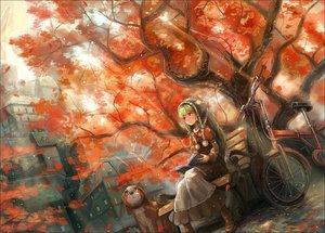 Rating: Safe Score: 129 Tags: animal autumn bicycle dog dress green_hair nigoro original tree User: opai