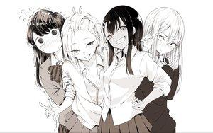 Rating: Safe Score: 82 Tags: amane_mizuno anjou_(yancha_gal) black_hair blush bow ijiranaide_nagatoro-san komi-san_wa_komyushou_desu komi_shouko long_hair monochrome n_aaaa nagatoro_hayase sanpakugan-chan_no_ohanashi school_uniform skirt white white_hair yancha_gal_no_anjou-san User: RyuZU