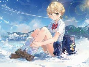 Rating: Safe Score: 41 Tags: blonde_hair bow green_eyes kaeki kneehighs landscape original scenic school_uniform short_hair skirt socks water yellow_eyes User: RyuZU