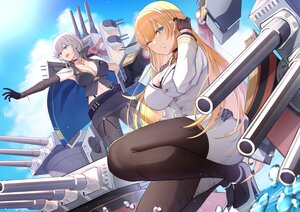 Rating: Safe Score: 49 Tags: anthropomorphism azur_lane blonde_hair clouds elbow_gloves gloves gray_hair long_hair mechagirl military north_carolina_(azur_lane) pantyhose pnatsu sky uniform washington_(azur_lane) wink User: BattlequeenYume
