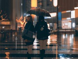 Rating: Safe Score: 140 Tags: 2girls black_hair brown_hair building city hat kneehighs night original rain school_uniform snatti umbrella water User: RyuZU