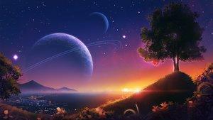 Rating: Safe Score: 115 Tags: monorisu nobody original planet scenic sky stars sunset tree water User: RyuZU