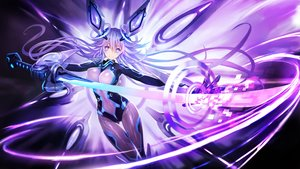 Rating: Safe Score: 113 Tags: 300_heroes bodysuit breasts gloves hanshu headdress hyperdimension_neptunia katana long_hair neptune purple_heart skintight sword weapon User: luckyluna