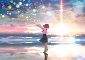 Rating: Safe Score: 43 Tags: barefoot brown_hair clouds original reflection seifuku short_hair skirt sky sunset water wogura User: RyuZU