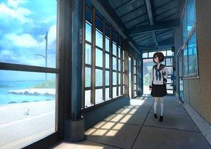 Rating: Safe Score: 38 Tags: animal bird brown_hair clouds kneehighs original sakeharasu scenic seifuku short_hair skirt sky water User: RyuZU