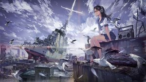 Rating: Safe Score: 142 Tags: animal barefoot bird black_hair boat city clouds glasses headphones hjl jpeg_artifacts original ruins seifuku sky User: FormX