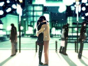 Rating: Safe Score: 106 Tags: building city hug kurihara_touko nakamura_takeshi night pantyhose skirt snow tenshi_no_inai_12-gatsu winter User: Oyashiro-sama