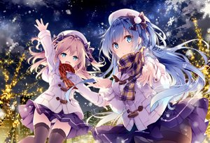 Rating: Safe Score: 90 Tags: 2girls aqua_eyes blonde_hair blue_hair bow building christmas city clouds emori_el emori_miku emori_miku_project hat hoodie long_hair mochizuki_shiina night panties pantyhose scarf seifuku skirt sky snow stars thighhighs tree twintails underwear User: otaku_emmy