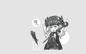 Rating: Safe Score: 60 Tags: anthropomorphism aqua_eyes cape ganesagi gray i-class_destroyer kantai_collection staff weapon white_hair wo-class_aircraft_carrier User: Tensa