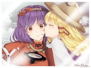 Rating: Safe Score: 31 Tags: aliasing blonde_hair hat kiss long_hair mirror moriya_suwako mudix2 purple_hair red_eyes short_hair shoujo_ai signed touhou yasaka_kanako User: RyuZU