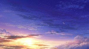 Rating: Safe Score: 31 Tags: clouds moon nobody original scenic shi_yu sky stars sunset User: otaku_emmy