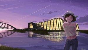 Rating: Safe Score: 16 Tags: building eiri_su grass hat navel original reflection scenic signed sky stars sunset User: RyuZU