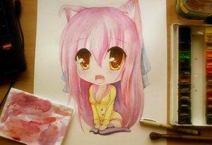 Rating: Safe Score: 76 Tags: animal_ears catgirl chibi long_hair original pavel photo pink_hair sketch yellow_eyes User: Korobeinik