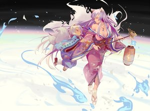 Rating: Safe Score: 48 Tags: 2girls animal_ears breasts cleavage cotton fire foxgirl japanese_clothes kimono loli long_hair magic multiple_tails necklace original purple_hair red_eyes socks tail twintails white_hair User: BattlequeenYume