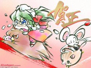 Rating: Safe Score: 6 Tags: animal blue_eyes glasses green_hair headdress japanese_clothes ribbons User: Oyashiro-sama
