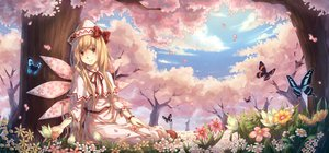 Rating: Safe Score: 136 Tags: blonde_hair bow butterfly cherry_blossoms fairy flowers forest hat lily_white long_hair petals red_eyes spring touhou tree wings yezhi_na User: FormX