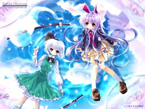 Rating: Safe Score: 85 Tags: blue_eyes bunny_ears bunnygirl capura_lin katana konpaku_youmu red_eyes reisen_udongein_inaba sword touhou weapon white_hair User: Oyashiro-sama