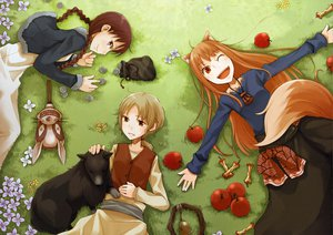 Rating: Safe Score: 72 Tags: animal_ears apple blonde_hair brown_eyes brown_hair chloe_(spice_and_wolf) dress fang food fruit grass horo long_hair nora_ardent ookami_to_koushinryou orange_hair purple_eyes red_eyes scan short_hair tail wink wolfgirl User: Pilop