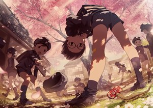 Rating: Safe Score: 37 Tags: all_male animal bandaid building cherry_blossoms flowers glasses grass hat kneehighs male noeyebrow_(mauve) original paper school_uniform shorts signed tree User: RyuZU