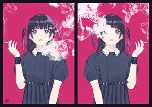 Rating: Safe Score: 58 Tags: black_eyes black_hair cigarette gothic kakekikuko original purple smoking twintails wristwear User: otaku_emmy