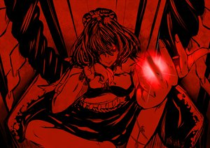 Rating: Safe Score: 53 Tags: mito_(calcomer) monochrome red red_eyes short_hair touhou yasaka_kanako User: Dust