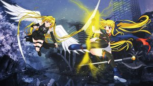 Rating: Safe Score: 53 Tags: blonde_hair crossover fate_testarossa golden_darkness long_hair mahou_shoujo_lyrical_nanoha mahou_shoujo_lyrical_nanoha_the_movie_1st night red_eyes to_love_ru wings User: Pilad