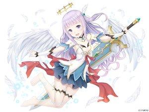 Rating: Safe Score: 66 Tags: dress halo monmusu_harem namaru_(summer_dandy) ponytail purple_eyes purple_hair sword thighhighs weapon wings zettai_ryouiki User: sadodere-chan