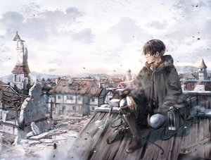 Rating: Safe Score: 33 Tags: all_male black_hair boots building city clouds kawauso levi_ackerman male ruins scenic shingeki_no_kyojin short_hair sky User: FormX
