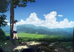 Rating: Safe Score: 76 Tags: aoyama_sumika black_hair clouds coffee-kizoku grass kneehighs landscape original photoshop scenic shade skirt sky summer tree User: kazuto