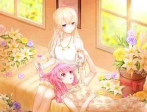 Rating: Safe Score: 53 Tags: 2girls bang_dream! blonde_hair dress flowers long_hair lunacle maruyama_aya necklace pink_hair purple_eyes red_eyes shirasagi_chisato skirt summer_dress User: otaku_emmy