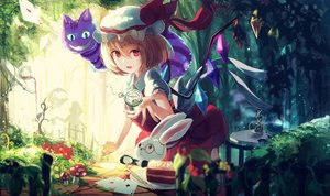 Rating: Safe Score: 61 Tags: alice_in_wonderland animal blonde_hair cat cheshire_cat crossover drink flandre_scarlet food hat nakaichi_(ridil) rabbit red_eyes ribbons short_hair silhouette touhou vampire white_rabbit wings User: RyuZU