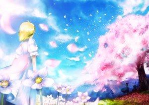 Rating: Safe Score: 45 Tags: blonde_hair cherry_blossoms dress flowers jpeg_artifacts original shino_(lunar_crescent) short_hair silhouette spring User: Dust