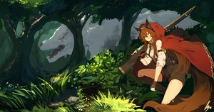 Rating: Safe Score: 32 Tags: animal animal_ears boots brown_hair cape forest gloves grass gun headband hoodie kneehighs lansane little_red_riding_hood orange_eyes original shorts signed tree tsana_(lansane) weapon wolf User: otaku_emmy