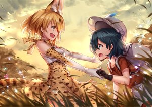 Rating: Safe Score: 22 Tags: 2girls animal_ears anthropomorphism black_hair blonde_hair catgirl dress elbow_gloves gloves grass hat kaban kemono_friends ks serval short_hair tail yellow_eyes User: RyuZU