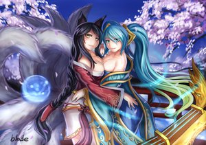 Rating: Safe Score: 354 Tags: ahri_(league_of_legends) animal_ears cherry_blossoms cleavage japanese_clothes league_of_legends long_hair petals qblade sona_buvelle tail yellow_eyes User: opai