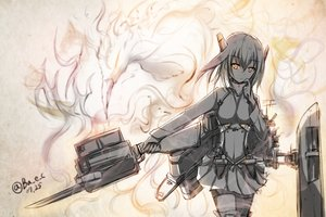 Rating: Safe Score: 115 Tags: anthropomorphism boyogo brown_eyes headband kantai_collection monochrome signed sketch skirt taihou_(kancolle) thighhighs weapon User: vf.nightcore