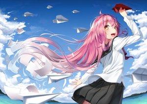Rating: Safe Score: 82 Tags: clouds long_hair original paper pink_hair school_uniform skirt sky super_pig water yellow_eyes User: RyuZU